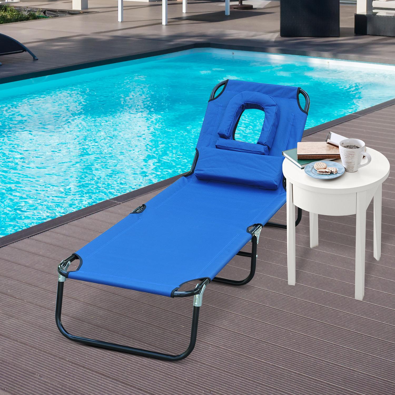 Tumbona Reclinable y Plegable con Almohada para Leer o hacer Masajes - Color Azul - Acero - 190x56x28 cm