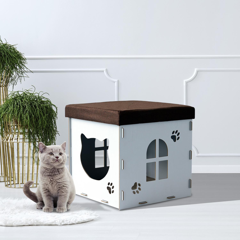 Image of EUR22,99 PawHut Casa de Gato Caseta Mascota con Tapa para Sentarse Black Friday D30-164WT 8435428735104
