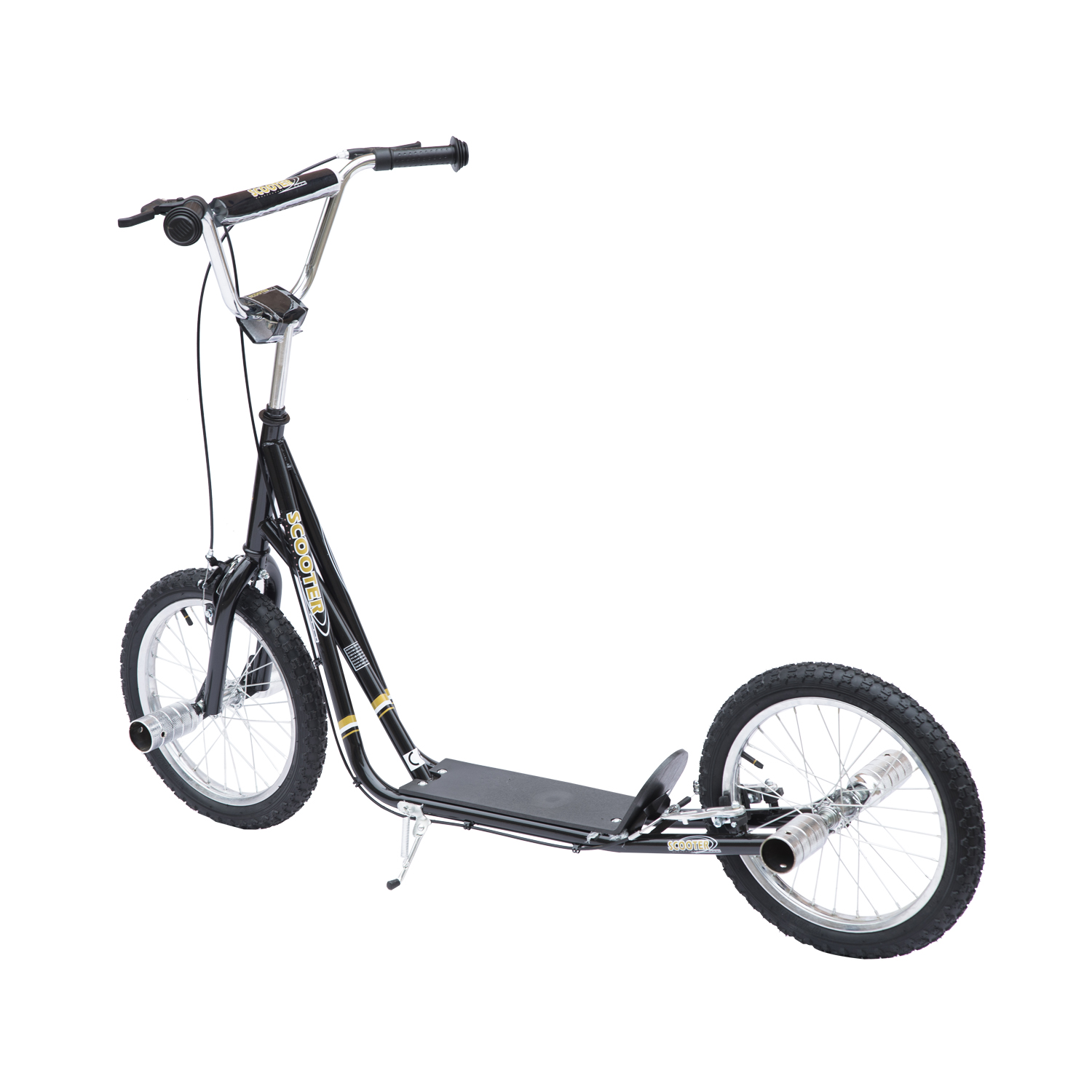 Image of EUR62,99 Patinete Scooter de 2 Ruedas de 16 pulgadas con 2 Frenos PEGS Estribos y Caballete - Negro - Metal - 143 x 58 x 85 cm Black Friday 53-0016 8435428708825