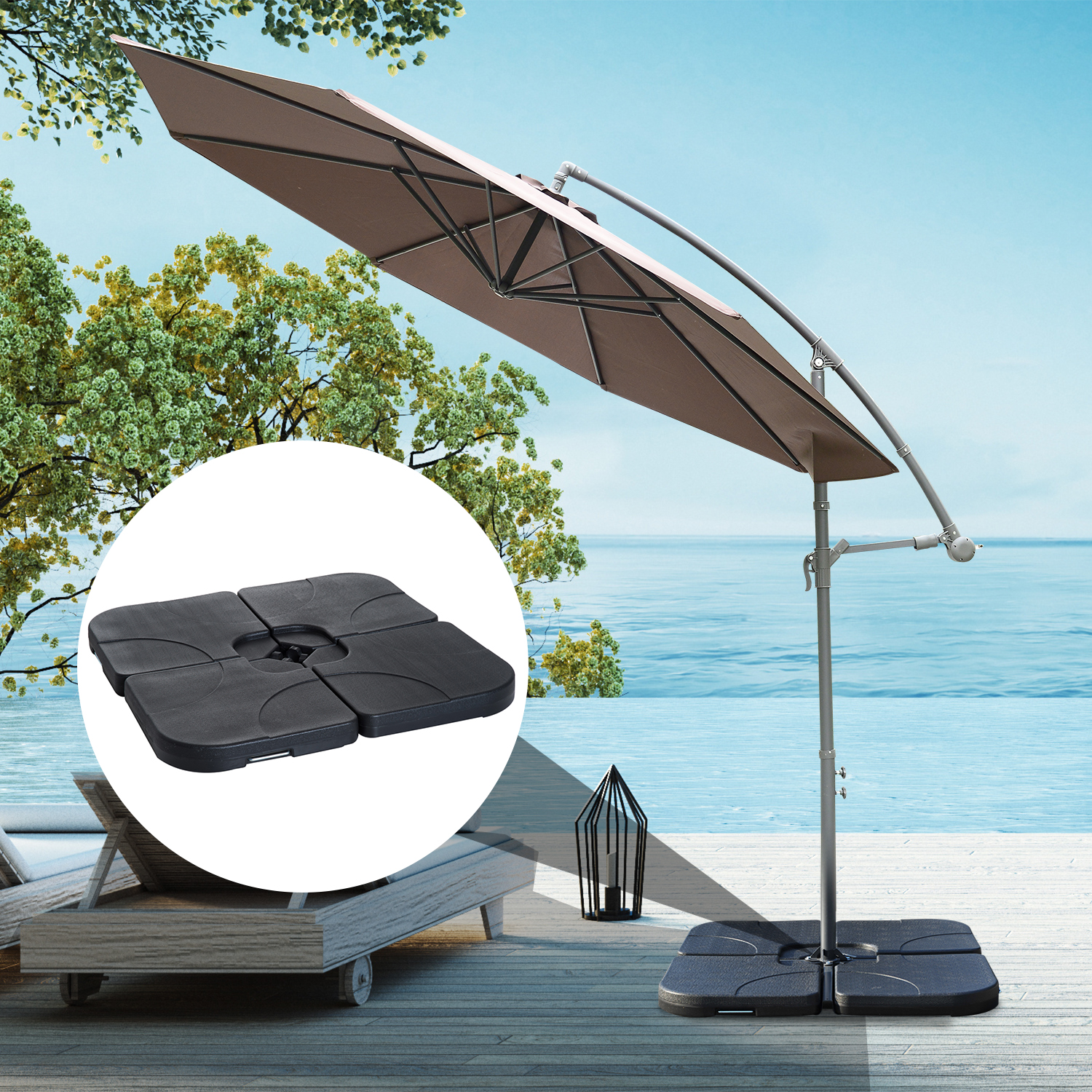 Image of EUR49,99 Base de Sombrilla o Pie para Parasol– Color negro –Plástico – 50 x 50 x 7.5cm Black Friday 84D-021 8435428720087