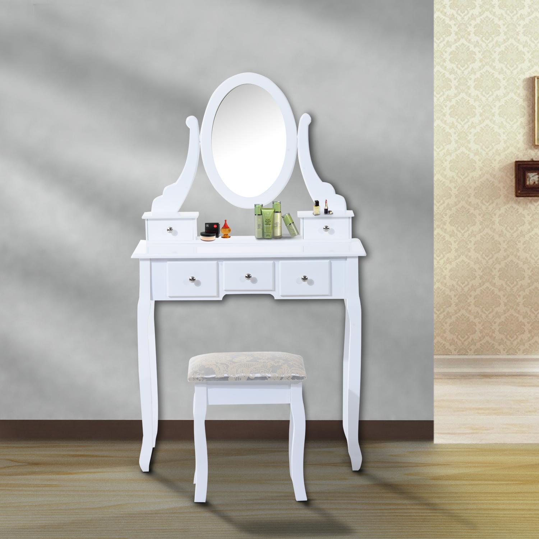 Image of EUR105,99 Homcom Tocador de Maquillaje con Taburete - Color Blanco - MDF y Madera Maciza - 80x40x140cm Black Friday 831-098 8435428715625