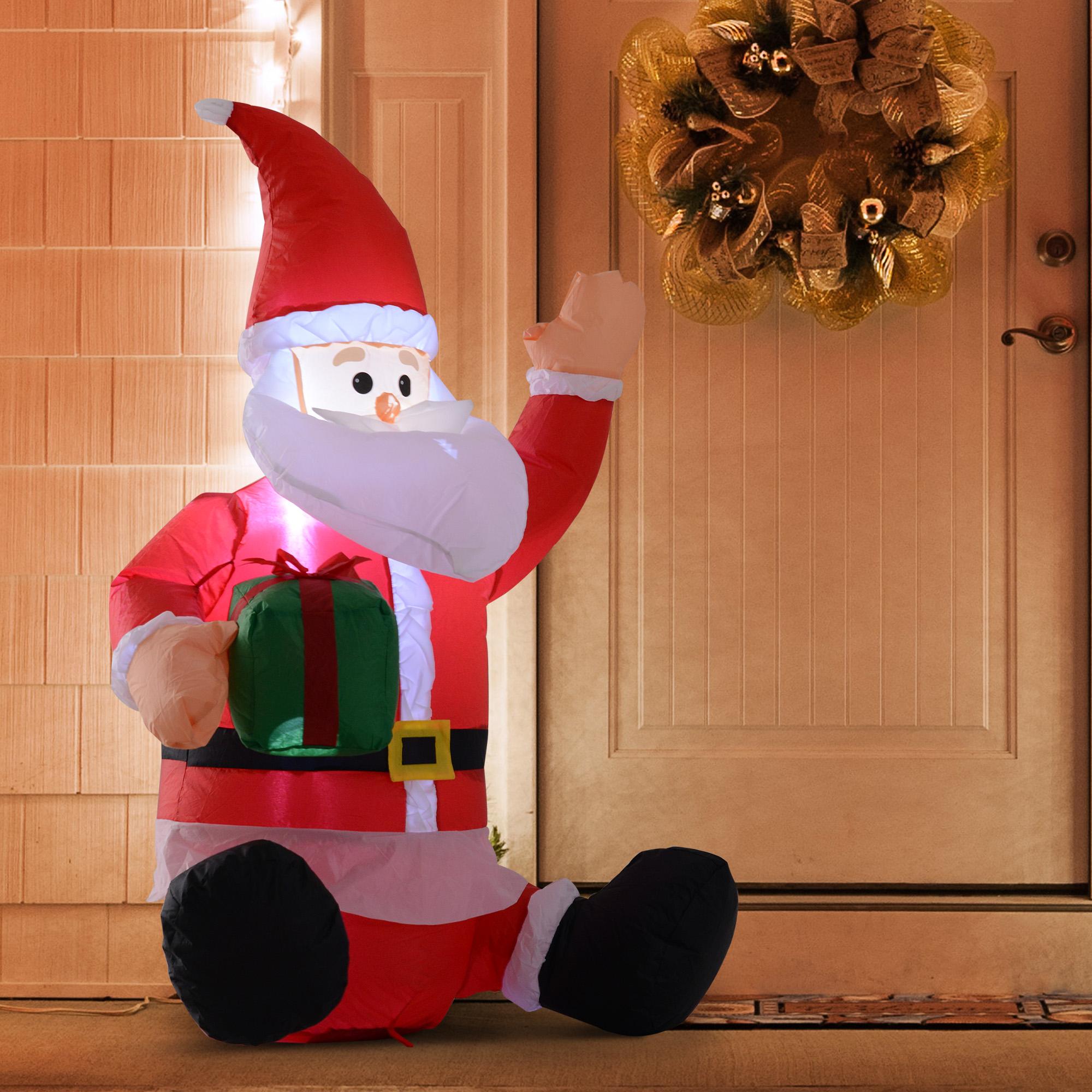 Image of EUR24,99 HomCom Papá Noel Hinchable 1.2m con Regalo Decoración Navidad Iluminación LED Black Friday 844-166 8435428735395