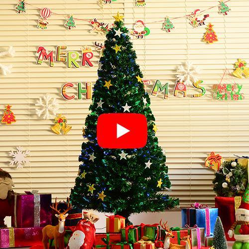 HomCom Árbol de Navidad Verde Φ80x180cm Árbol de Fibra Óptica con 28 Luces