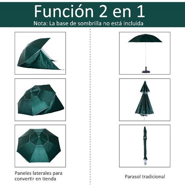 función 2 en 1 de la sombrilla con paneles laterales