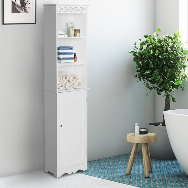 armario alto para baño blanco