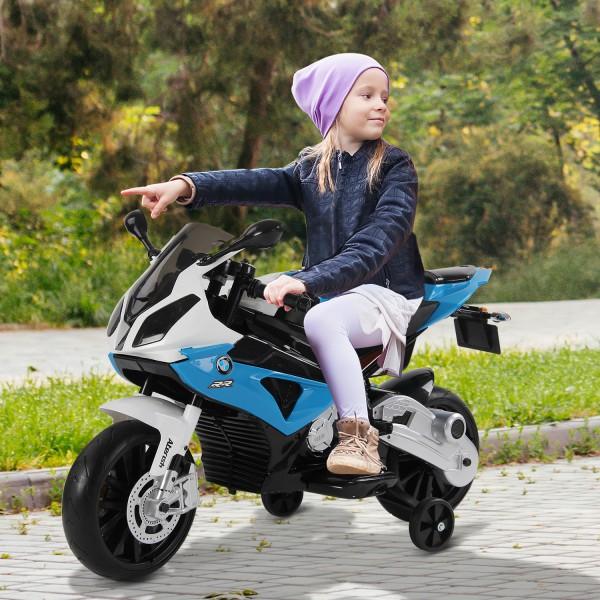 moto electrica BMW azul con ruedas de aprendizaje